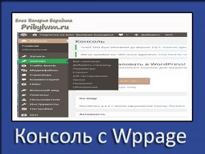 консоль с wppage
