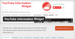 YouTube Information Widget