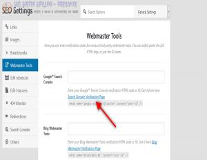 webmaster tools verification page