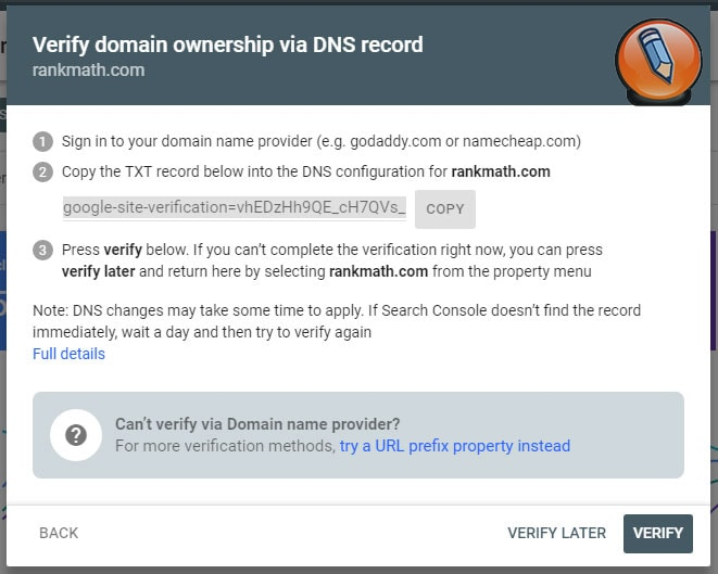 methods to verify property in search console