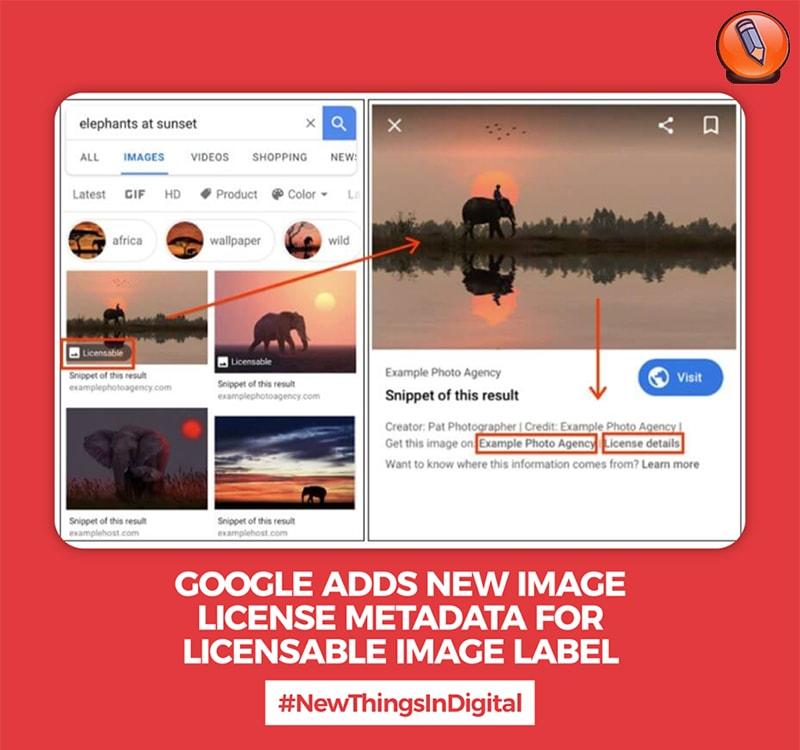 Google добавляет новые метаданные лицензии на изображение