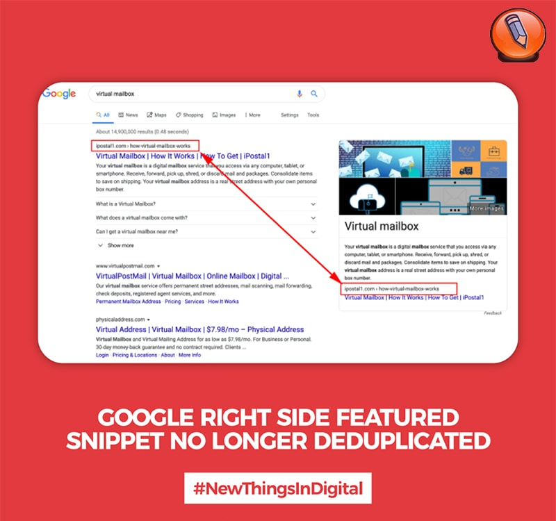 Google Right Featured Snippet больше не дублируется