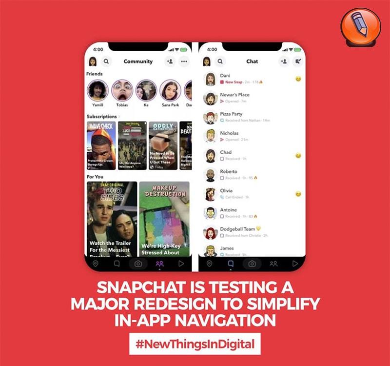 Snapchat тестирует крупный редизайн