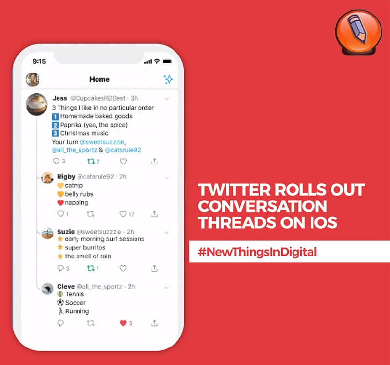 Твиттер разворачивает цепочки разговоров на iOS