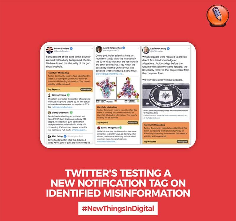 Twitter тестирует новый тег уведомления