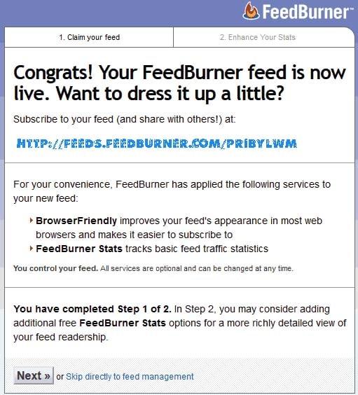 сообщение feedburner rss