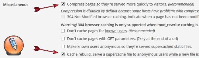 wp super cache восстановление кеша